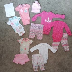 9 pc +2 Freebies! Newborn Baby Girl Clothes Bundle